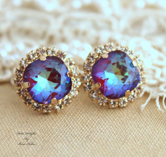 Ultra Purple violet Rhinestone stud earringsBridal by iloniti