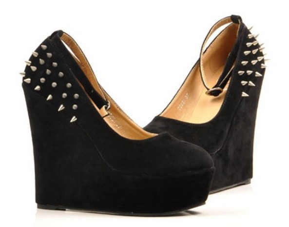 Free Shipping 2013 New Women Fashion Flock Rivets Spike Studded Wedge Platform High Heels Shoes Pumps Lady's Sexy Casual Shoes-in Pumps from Shoes on Aliexpress.com