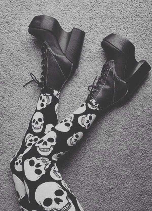 leggings skull shoes