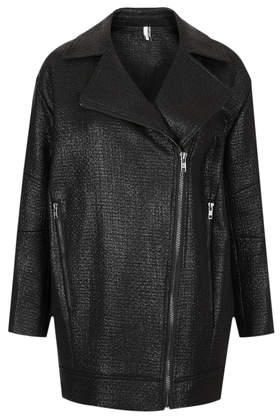 Textured Slouchy Biker Jacket - Punk It Up  - New In  - Topshop