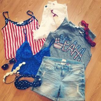 tank top junk food raglan top shirt american flag america red white and blue