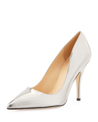 kate spade new york licorice mirrored pointy pump, pewter - Neiman Marcus