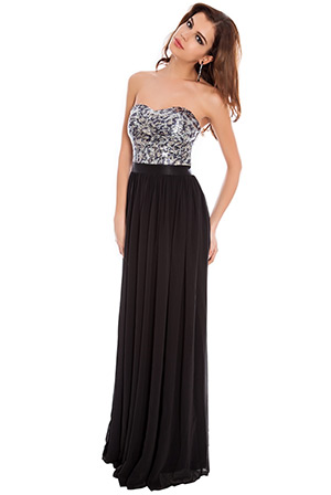 Sequin and Chiffon Bandeau Evening Maxi Dress