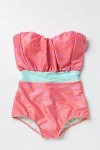 $188 Anthropologie Noelle Sunburst Print Stripe Resa Maillot Swimsuit L | eBay