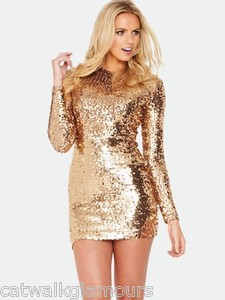 French Connection Lust All Over Bronze Sequin Long Sleeve Mini Party Dress £160 | eBay