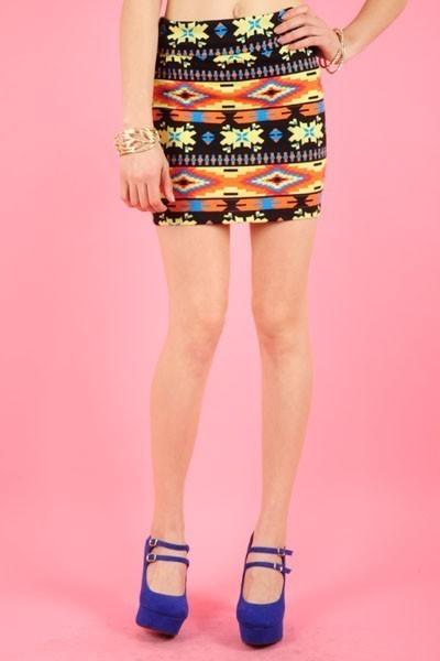 NEW Tribal Aztec Print Mini Skirt Orange ~ S M L - Skirts