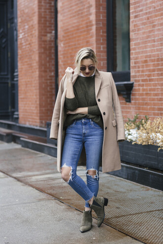 my style pill blogger sunglasses coat sweater jeans shoes scarf beige coat green sweater ankle boots winter outfits winter coat