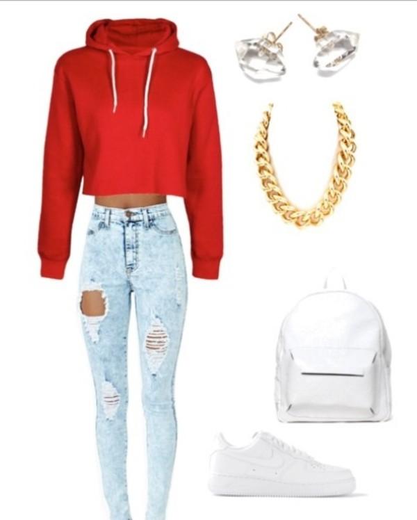 bag jeans shirt coat shoes jewels