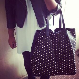 bag stud black oversized studded bag girl studs gold