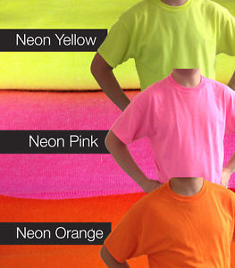 Plain Cotton Gildan Neon Bright Pink Yellow Orange Fluorescent T Shirts Safety | eBay
