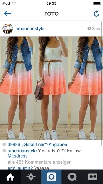 dress ombre dress pink and white white and orange white dress orange dress dip dyed lace dress cute dress white orange