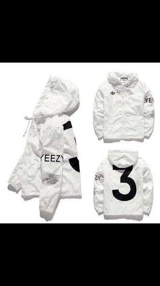 jacket yeezus yeezy adidas white kanye west windbreaker coat yeezyboost black and white number need  cute baddies lovely black yeezy tour flight jacket ovoxo yezzy hoodie adidas jacket