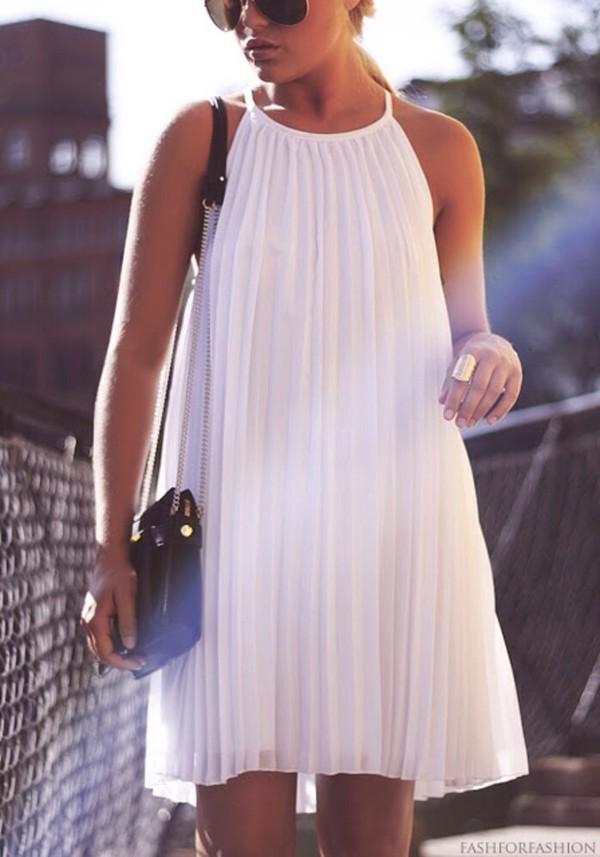 dress pleats white dress summer flow clothes white pleated white pleated dress white dress halter dress