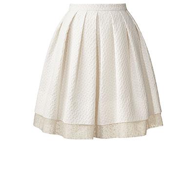 Orla Kiely   UK   Clothing   Skirts   Textured Flower Jacquard Pleated Skirt (14SWTFL634)   Chalk