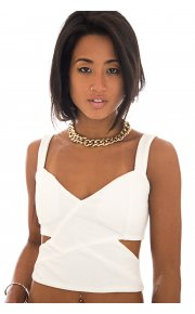 Nadine White Side Cut Out Textured Crop Top -  from The Fashion Bible  UK