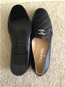 BNIB Chanel Black Quilted Loafers Flats Shoes Sz 8 38 $875 | eBay