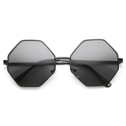 Vintage Fashion Octagonal Geometic Metal Sunglasses 8942                           | zeroUV