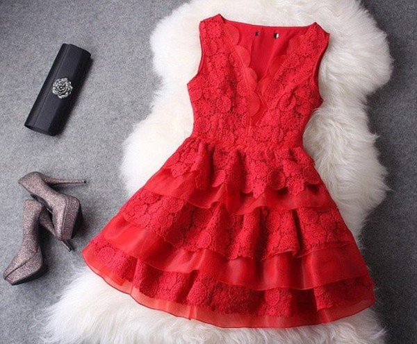 red dress lace dress shoes pumps fashion cute cute dress short dress coral coat style party party dress nice sexy dress