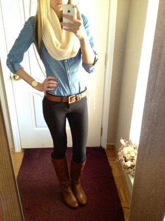scarf shirt pants shoes boots brown leather boots winter boots fashion