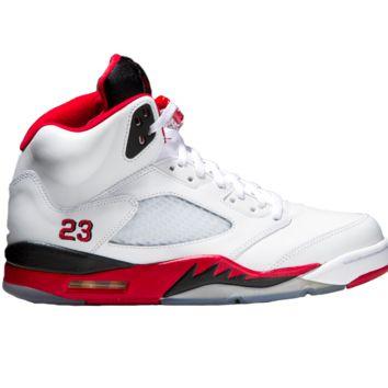 "Air Jordan 5 Retro ""Fire Red"" (White/Black/Fire-Red) - Mens on Wanelo"