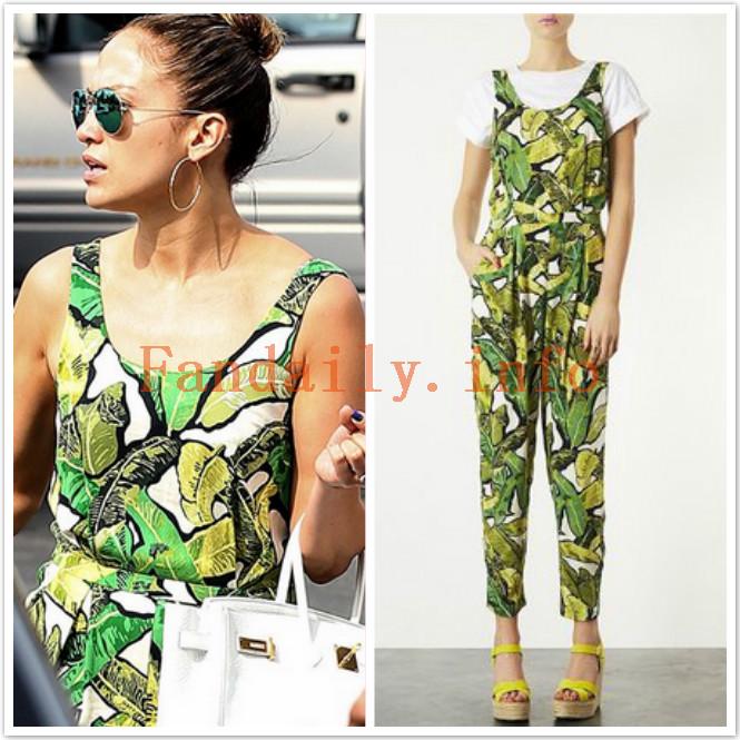 Jennifer Lopez Style & Fashion: Topshop Green Banana Leaf Print Jumpsuit | Fandaily.info
