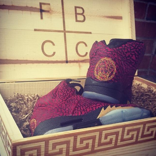 "Air Jordan Retro 5 ""3lab5"" Versace High Tops Nike Men's Basketball Shoes Blood Red Gold Black (Wooden Box)"