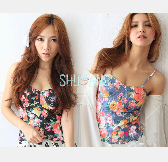Hot Sale Free Shipping New 2014 Women Floral Print Vest Sexy Crop Tops,Women's Bra Vest Camisole Straps Padded Tank Top TW062  -in Camis from Apparel & Accessories on Aliexpress.com