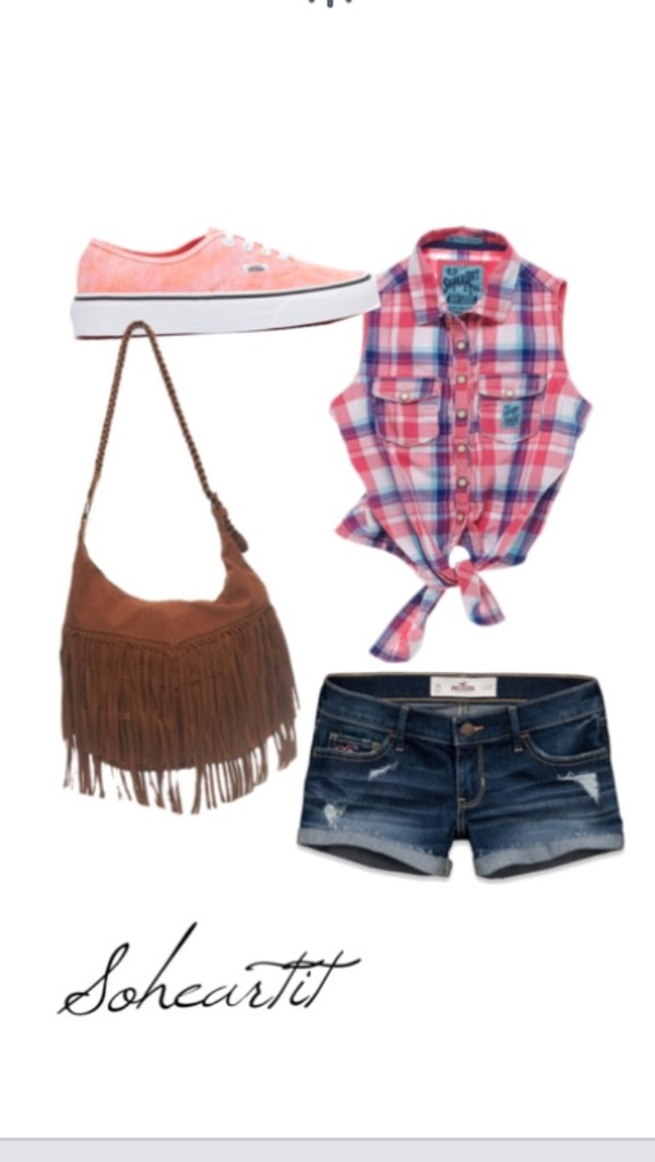 bag brown shorts shoes t-shirt fringes big checkered crop top denim vans super