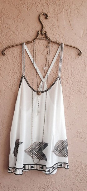 blouse top summer outfits white fashion cute girly arrows glitter shirt t-shirt white tank top white shirt tank top boho shirt white blouse