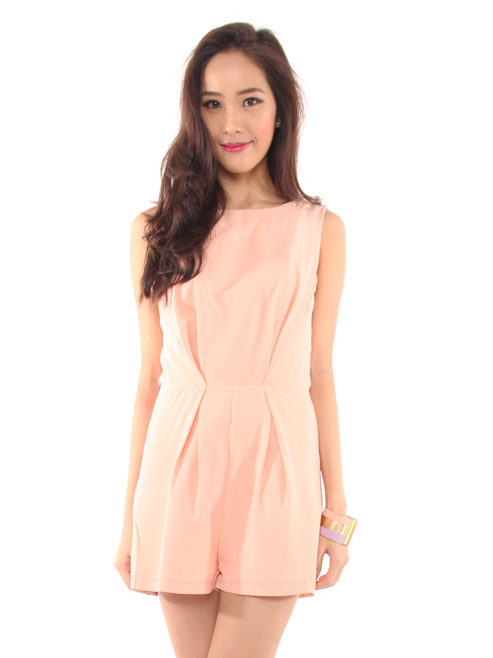 Romantic Lace Back Romper in Peach Pink   Red Poppiez     Chic Kiss Love