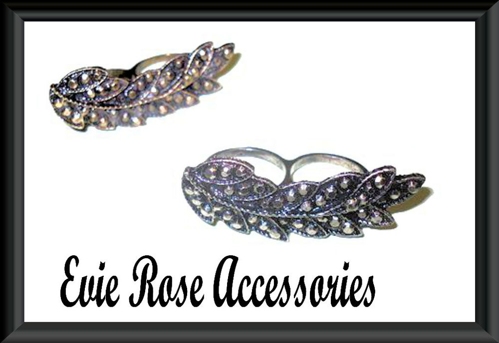 NEW LARGE VINTAGE DESIGN LONG FEATHER LEAF STATEMENT DOUBLE TWO FINGER RING   eBay