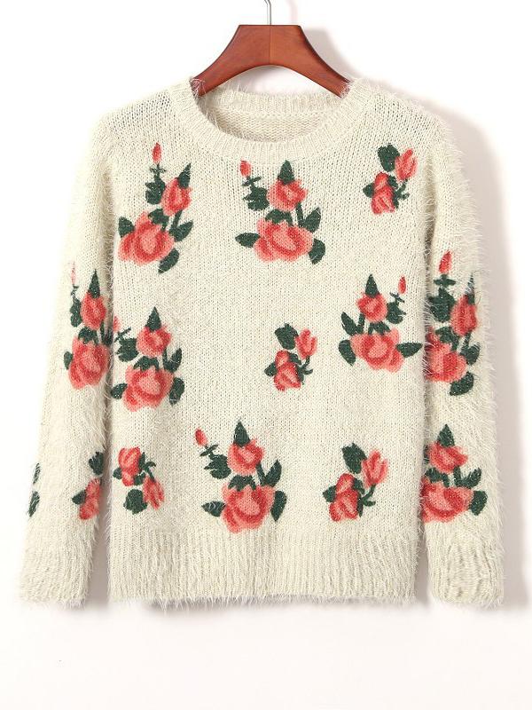 Street Straight Round Neck Long Sleeve Floral Sweater : KissChic.com