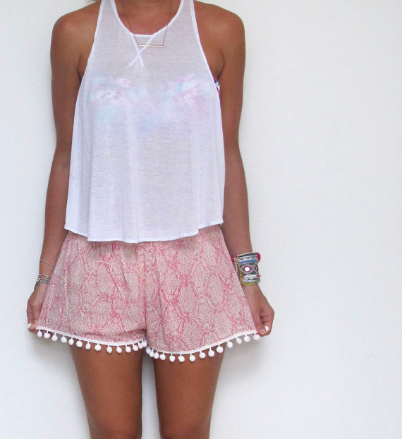 Pom Pom Shorts  Pale Pink and off White snake print by ljcdesignss