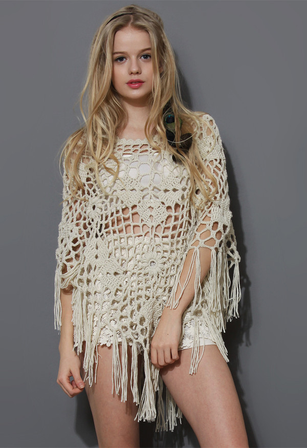 delicate hand-knit fringes off-white poncho crochet