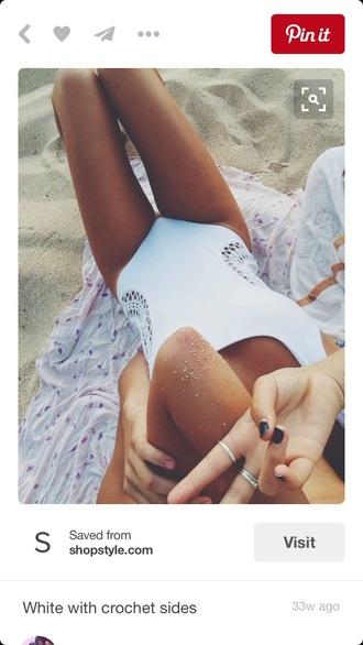 swimwear white crochet one peice swimwear