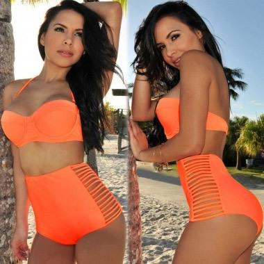 Neon Coral Orange Bikini Bustier Top High Waisted bikini Spandex Panties Swimsuit Women Side Slits Bandage Swimwear Plus size-in Bikinis Set from Apparel & Accessories on Aliexpress.com