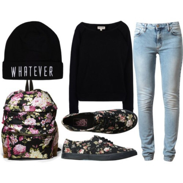 bag floral backpack shirt light jeans shoes beanie floral backpack black