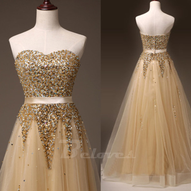 dress gold tulle prom dress sweetheart beaded a line dress