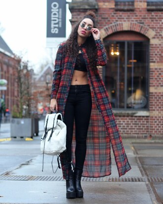 from hats to heels blogger backpack grunge skinny jeans black jeans black crop top shirt dress tartan blouse jeans top shoes bag sunglasses back to school