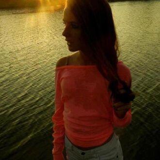 shirt pink peach peachy pink hot pink bright pink bright peach long sleeves girl brunette teenagers teen girl blouse top beach t-shirt plain shirt hot pretty cute gorgeous