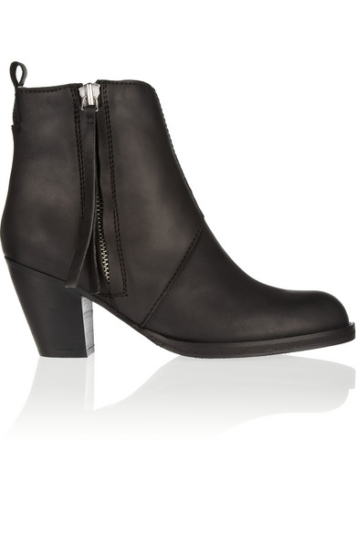 Acne|The Pistol shearling-lined leather ankle boots|NET-A-PORTER.COM