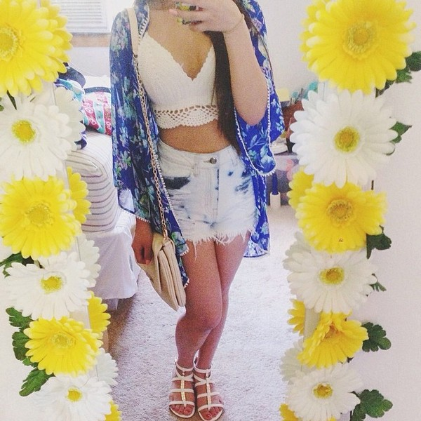 cardigan kimono shoes shirt shorts bag floral