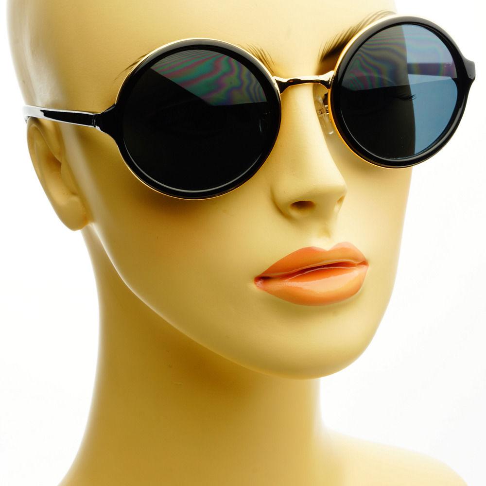 Celebrity Retro Vintage Style Circle Womens Round Sunglasses Black Gold | eBay