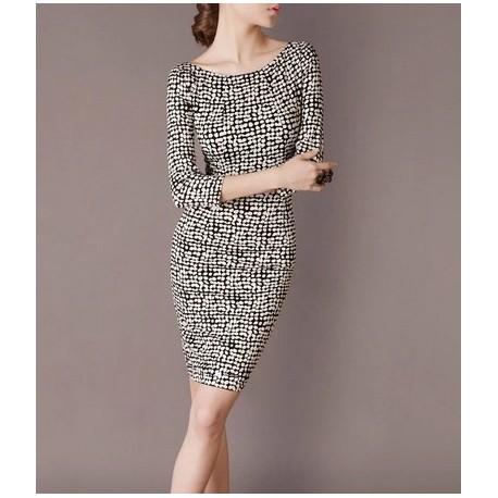 Black White Dots Elegant Noble Summer OL Slim Women Fashion Dress lml7031 - ott-123 - Global Online Shopping for Dresses