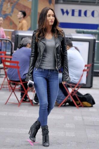 jacket top biker jacket megan fox boots jeans shoes