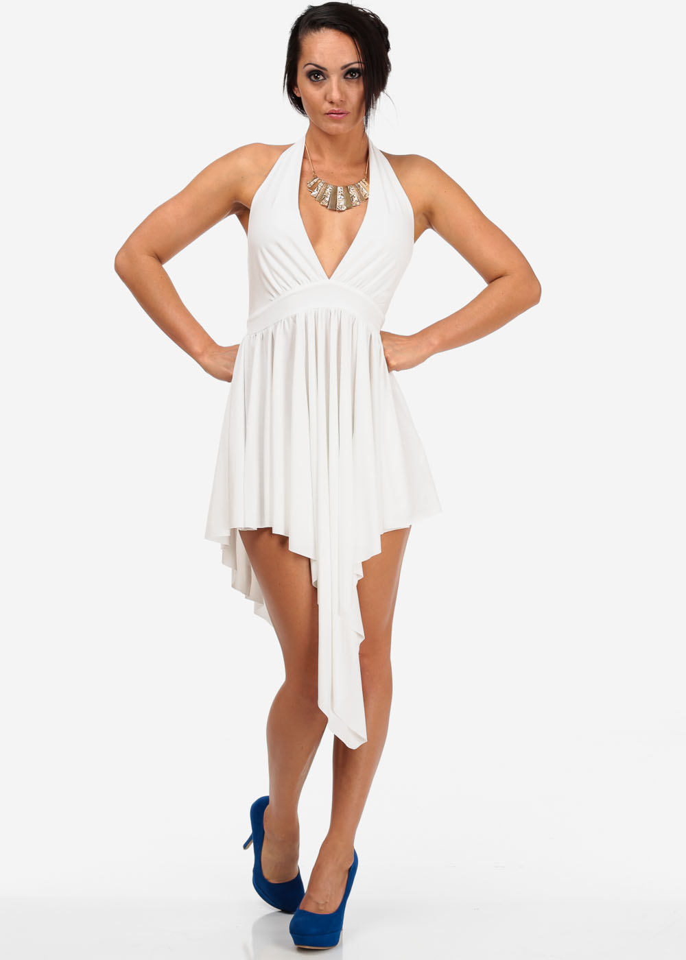Fashion Dresses-Cute Halter Dress- Egg shell sexy dress