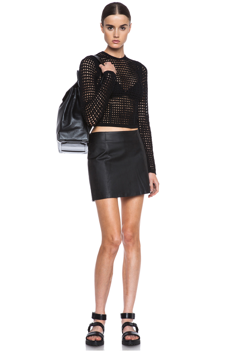 Alexander Wang|Fitted Crochet Knit Pullover in Liquorice