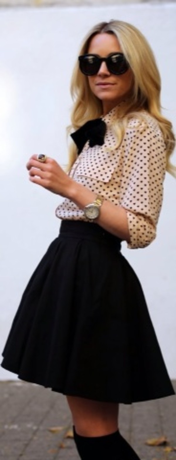 blouse bows polka dots chiffon pleated skirt black black and white skirt