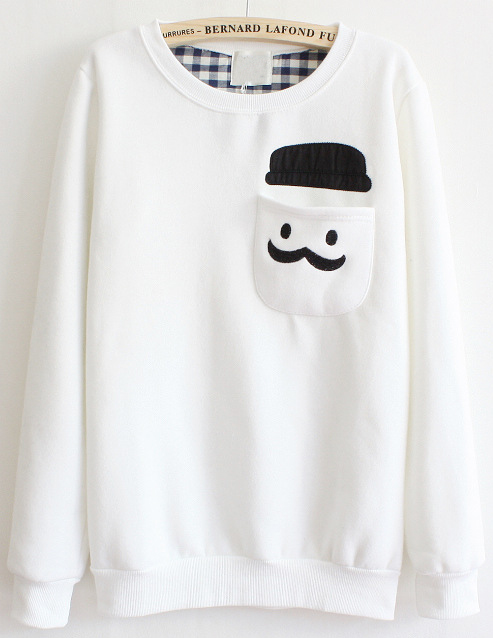White Long Sleeve Cartoon Pocket Sweatshirt - Sheinside.com