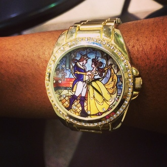 home accessory beauty and the beast gold watch diamond watch fairy tale
